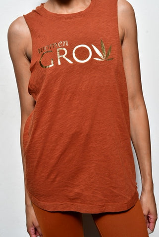 Acorn Braided Back Muscle Tank With Gold Foil