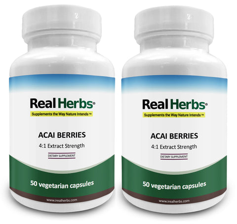2 Bottles of Acai Berry 4:1 Extract 500mg - 100 Vegetarian Capsules