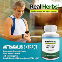 Load image into Gallery viewer, Real Herbs Astragalus Root Extract - Derived from 2800mg of Astragalus Root with 4:1 Extract Strength - Promotes Cardiovascular Health - 50 Vegetarian Capsules - Gluten Free