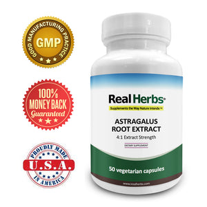 Real Herbs Astragalus Root Extract - Derived from 2800mg of Astragalus Root with 4:1 Extract Strength - Promotes Cardiovascular Health - 50 Vegetarian Capsules - Gluten Free