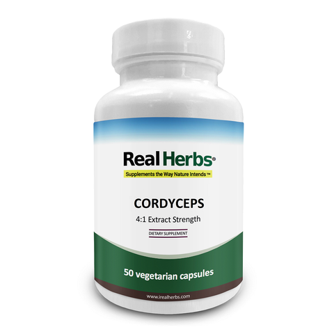 Real Herbs Cordyceps 4:1 Extract Strength 2800mg - 50 Vegetarian Capsules