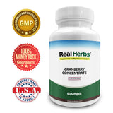 Real Herbs Cranberry Concentrate 50:1 Extract Strength - 60 Softgels