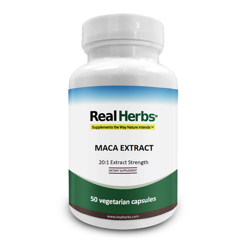Real Herbs Maca Root 20: 1 Extract 750mg - 50 Vegetarian Capsules