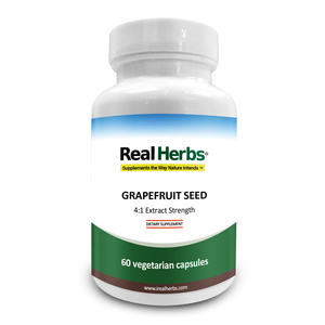 Real Herbs Grapefruit Seed Extract- Derived from 2,800mg of Grapefruit Seed with 4:1 Extract Strength - 60 Vegetarian Capsules