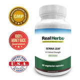 Real Herbs Senna Leaf Extract - Derived from 2,800mg of Senna Leaf with 4 : 1 Extract Strength - Laxative, Anti-Inflammatory Agent & Improves Metabolism - 50 Vegetarian Capsules - Gluten Free