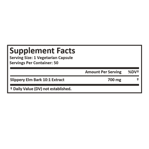 Slippery Elm Bark Extract - Derived from 7000mg of Slippery Elm Bark with 10:1 Extract Strength- Soothes Soreness of Mucous Membranes – 50 Vegetarian Capsules