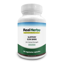 Load image into Gallery viewer, Real Herbs Slippery Elm Bark Extract - Derived from 7000mg of Slippery Elm Bark with 10:1 Extract Strength- Soothes Soreness of Mucous Membranes – 50 Vegetarian Capsules