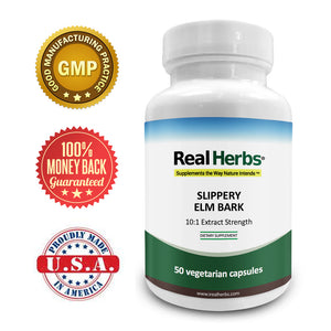 Real Herbs Slippery Elm Bark Extract - Derived from 7000mg of Slippery Elm Bark with 10:1 Extract Strength- Soothes Soreness of Mucous Membranes – 50 Vegetarian Capsules