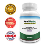 Real Herbs Valerian Root Pure Extract 4:1 400mg and Passion Flower Powder 300mg - 700mg - Natural Sleep Aid, Promotes Calmness and Peace of Mind - 50 Vegetarian Capsules - Gluten Free …