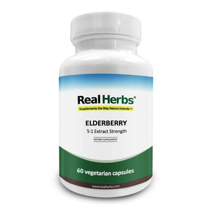 Real Herbs Elderberry Extract - 5:1 Extract with 5% Flavonoids - Cardiovascular Support - 60 Vegetarian Capsules