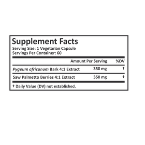 Pygeum Bark Extract 4:1 & Saw Palmetto Extract 4:1 - 700mg/cap - 60 Vegetarian Capsules