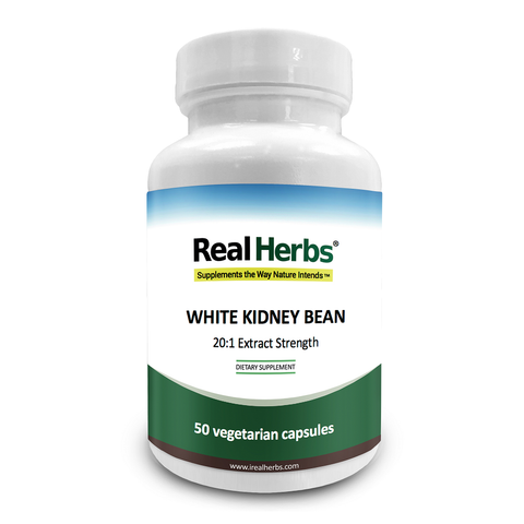 Real Herbs White Kidney Bean 20:1 Extract 750mg - 50 Vegetarian Capsules