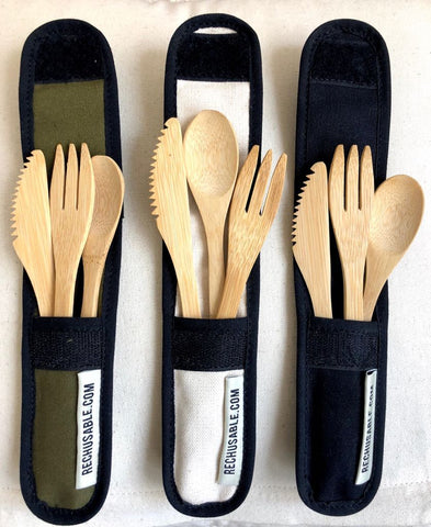 'choose to reuse' Bamboo Cutlery Set with Pouch