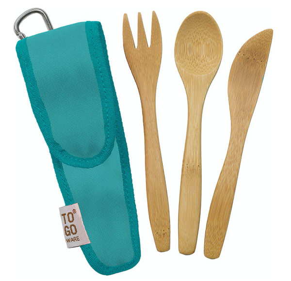 TO GO WARE Kids Bamboo Utensil Set with Recycled PET Carrying Case