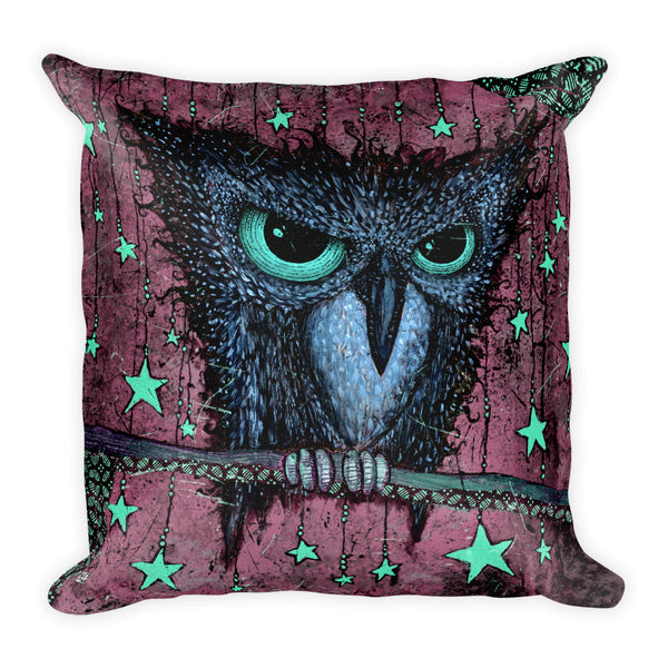 "Purple ""Night Owl"" Square Pillow"