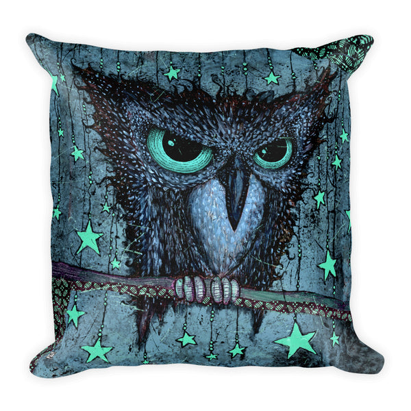 "Blue ""Night Owl"" Square Pillow"