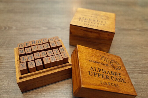 28 Wooden Rubber Stamp Box / Vintage Capital Alphabet Stamp /gift set