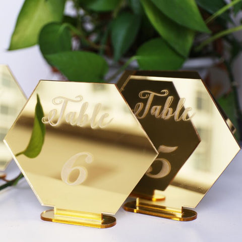 Hexagon mirror gold Table number Wedding Standing Numbers Acrylic table number wedding table number
