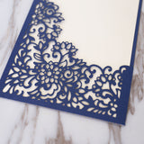 Dark blue Pocket Envelope Wedding Invitation,laser cut custom invitations, personalized greeting card