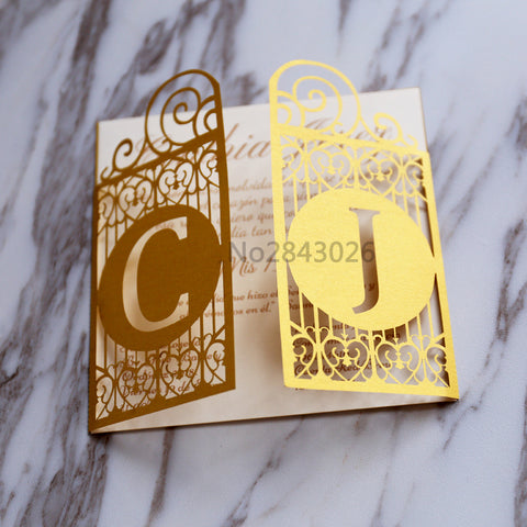 Gold Celtic Gate Laser Cut Wedding Invitation,Great Gatsby style invitations, personalized gate folded cards