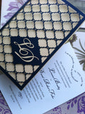 Monogram Navy blue Laser Cut Wedding Invitation Great Gatsby style invitations, personalized gate folded cards wedding invitation cards ,birthday greeting cards