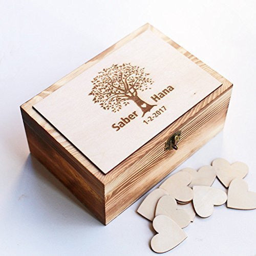 Personalized Wedding guest book Alternative, Heart Guest Book, Custom Wooden Keepsake box, Recipe Box with 100 hearts