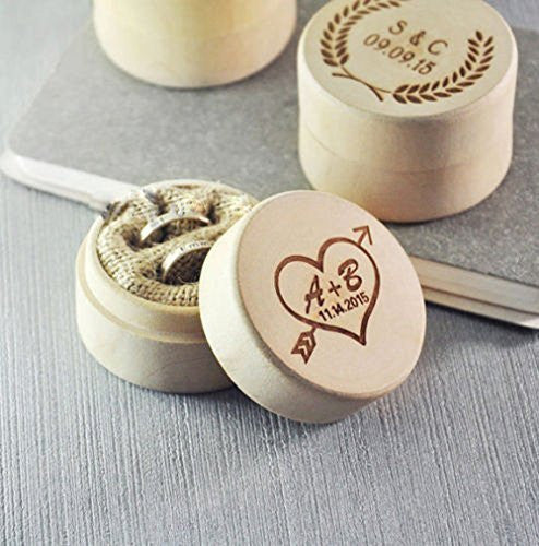 Custom Ring Box Personalized Wedding Valentines Engagement Wooden Ring Bearer Box Rustic Wedding Ring Box Holder