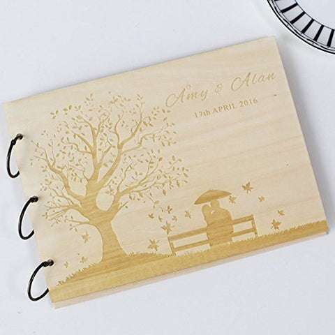 Custom wedding guest book wood rustic wedding guest book album bridal shower engagement anniversary - Love Tree Couple on the bench