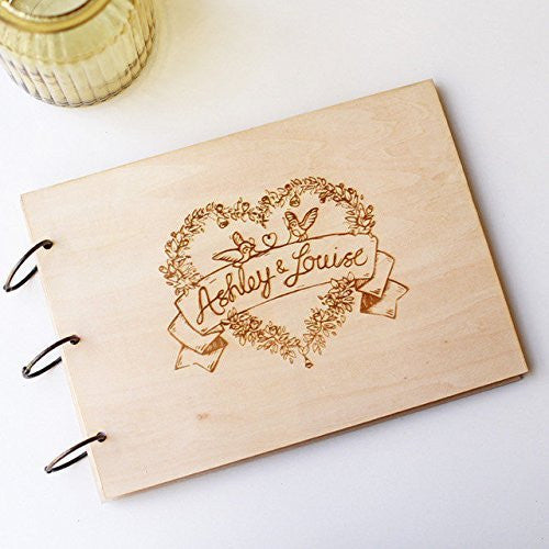Custom anniversary Love Wedding Guest Book Heart Couple Rustic Wedding Guest Book