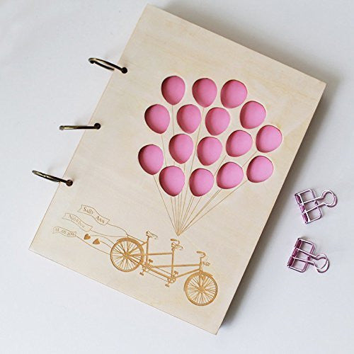 Rustic Wood Wedding Guest Book with Balloons And Bike Wedding Wood Advice Book, Laser Cut Wedding Guest Book, Custom Guest Book