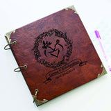 50 Pages Personalized Monogrammed Engraved Photo Album wedding leather guestbook