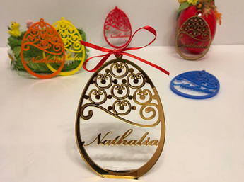 Personalized Easter Tree Ornament Custom Easter Bauble Happy Easter Decoration Custom egg Personalised Wood Egg Laser cut Golden