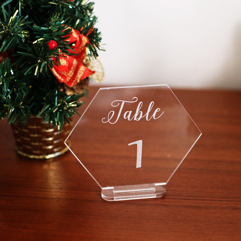 Hexagon Mirror Gold Table Number Wedding Standing Numbers