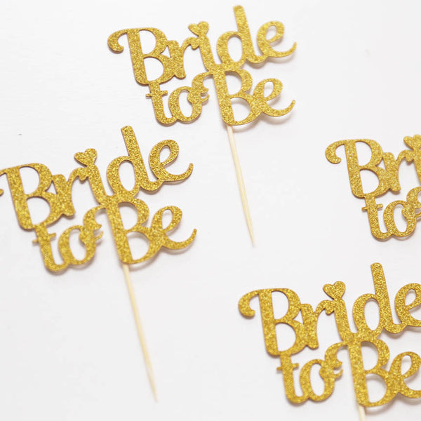 Bride to be cupcake toppers,  Gold Glitter party decor, table decorations, Bachelorette Cupcake Toppers. bridal shower