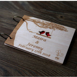 Custom Wedding Guestbook, Rustic Guestbook, love birds Guest Book, tree wedding sign in book