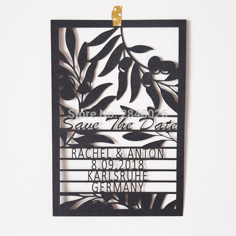 Customized OLIVE BRANCH laser cut save the date laser cutting wedding save the date cards and invitation cards