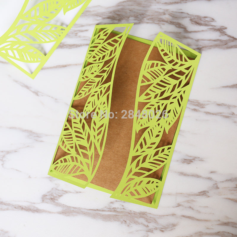 Customized tropical Leaves Leaf Laser Cut Wedding Invitation,palm tree style invitations, personalized printed folded cards
