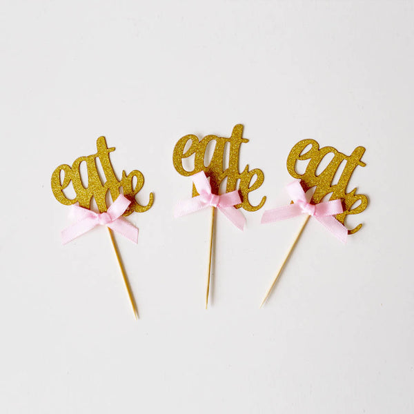 Eat me cake toppers, gold tea party decor, eat me with ribbon bow table decor, Alice in Wonderland Party Decorations