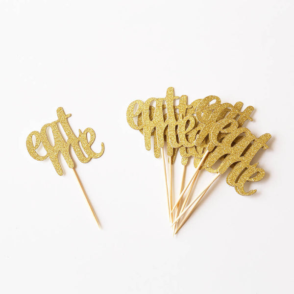 Eat me cupcake toppers, Alice in wonderland Toppers,glitter gold party decor, food picks, wedding decor