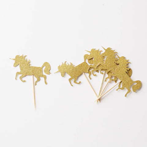 GOLD Glitter Mini Unicorn Cupcake topper Engagement Party Decoration, Bridal Shower Party, Wedding Cupcake Topper
