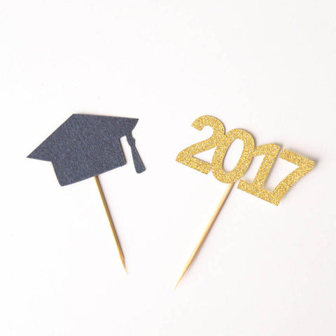 Graduation toothpicks, Class of 2017 cupcake Toppers,graduation party decor, food picks