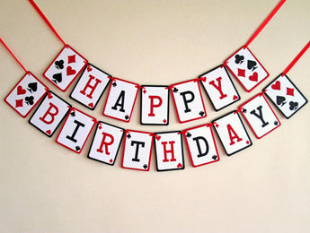 Happy birthday Banner, Casino birthday Garland, 21st party decor,Poker Night, Las Vegas Party decor
