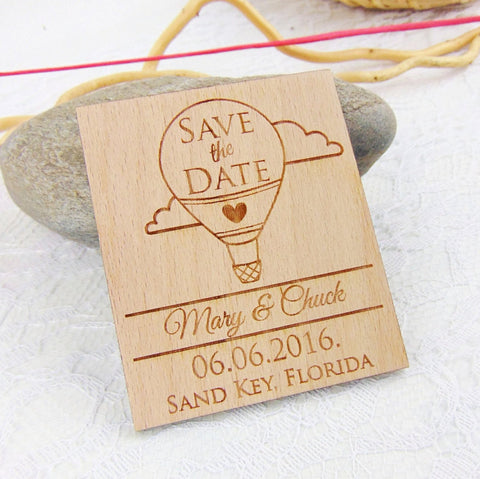 Hot Air Balloon Save the Date Magnet, Custom Engraved Save the Date, Wood Save the Date, Rustic Save the Date, Wedding Favors,
