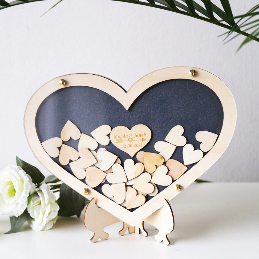 Heart Drop Box Guest Book, Large Double Heart Wedding Drop Top Box Style Guest Book Alternative, Unique Wedding Day Guest Book