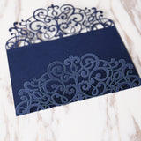 Dark blue Wedding Invitation,laser cut custom invitations, personalized greeting card