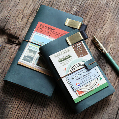 Genuine Green Leather MIDORI Style Traveler's Notebook/ Handmade traveler journal/Refillable Leather diary/ gift set/NB005