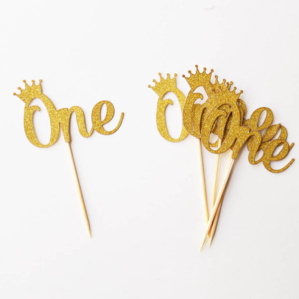 ONE cupcake Topper with crown,st Birthday Party, Royal Little Prince Princess First Birthday, Gold glitter cupcake topper,