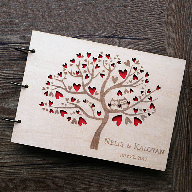 Owl Wedding Guest Book , Rustic Guest Book,heart tree Wedding Guestbook, Wooden wedding gift