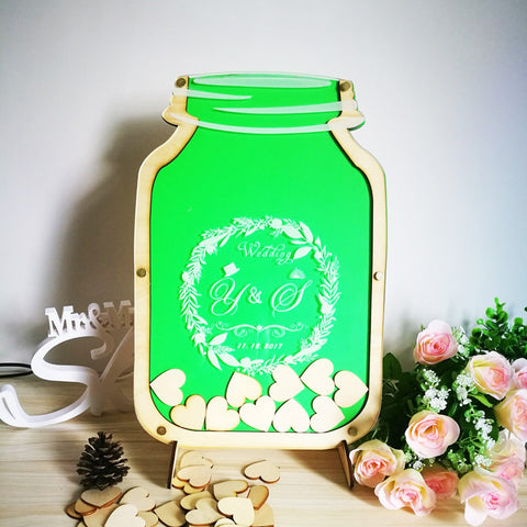 Personalized Customs Mason Jar wooden Frame Wedding Guest Book baby shower Wood dropbox alternative wood Heart Guest book top