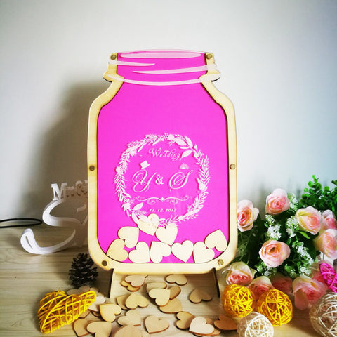 Personalized Customs Mason Jar Wooden Frame Wedding Guest Book Baby